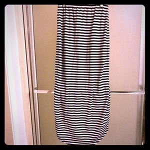 Striped high low striped skirt